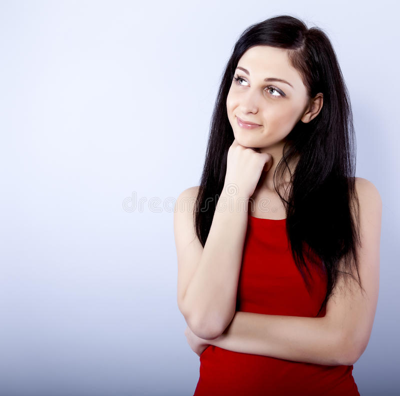 Download Smiling thinking woman stock photo. Image of face, positivity - 23553306