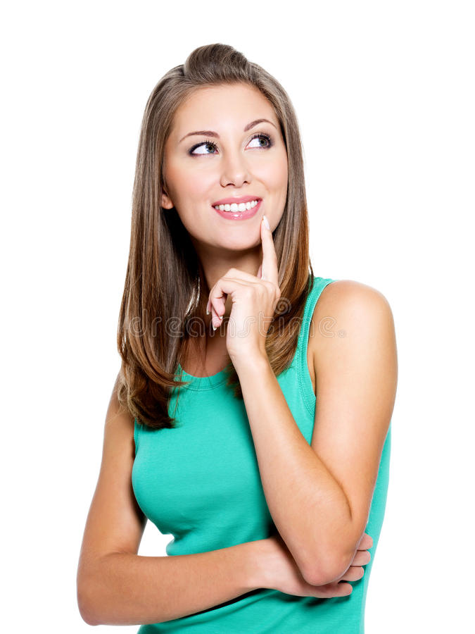 Smiling Thinking Woman Looking Up Stock Images