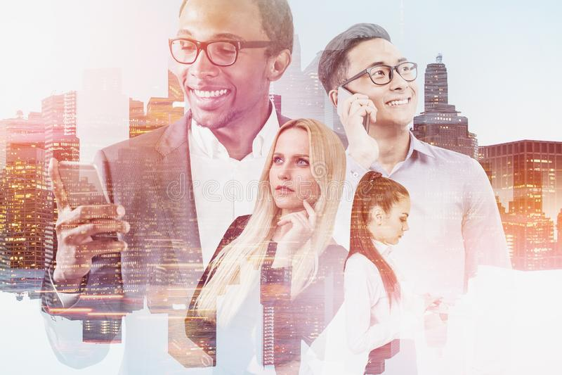 Diverse business people in city stock image