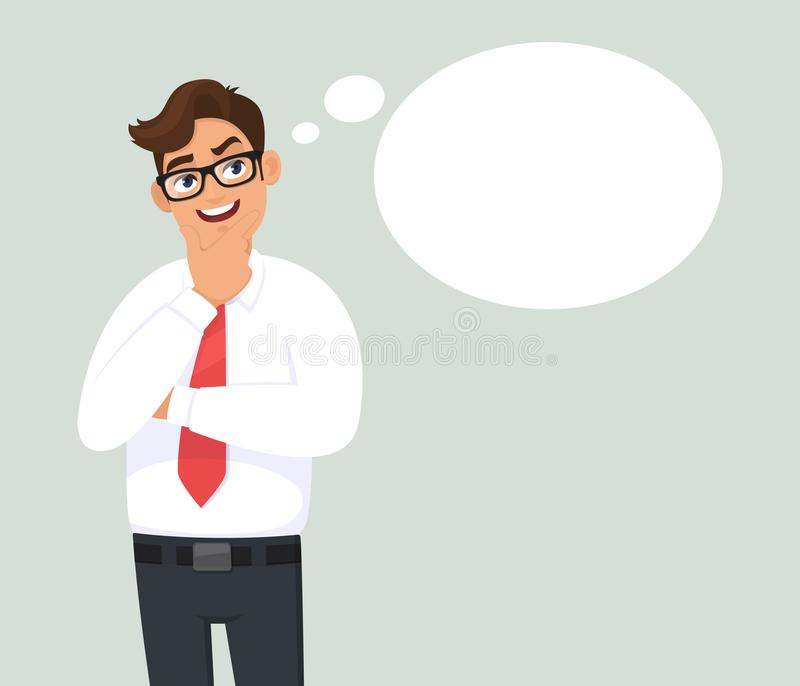Smiling thoughtful young business man is thinking and looking up. Blank/empty thought bubble. Human emotion, facial expression. Smiling thoughtful young stock illustration
