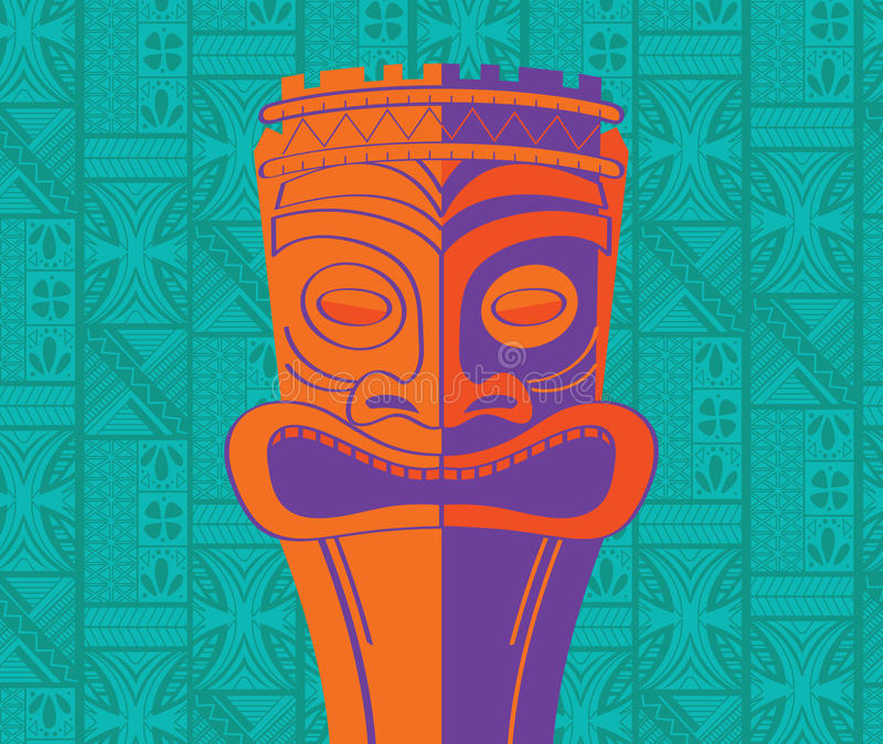 Smiling Tiki with Background. Our colorful, retro tiki image will bring you back to those high-style, exotic and fun tropical Tiki bars of the '50s! Designed by vector illustration