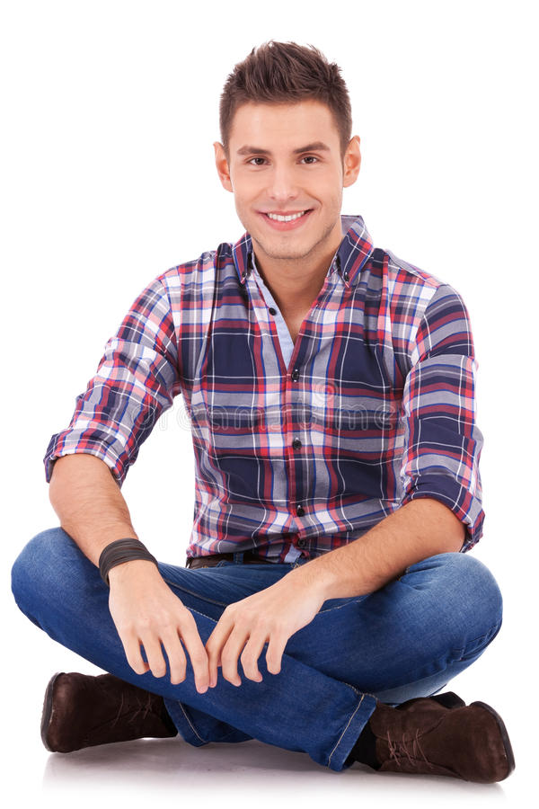 Download Smiling To The Camera While Sitting Stock Image - Image: 24765953
