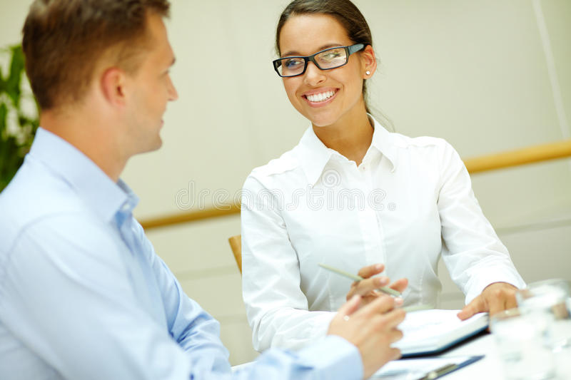 Download Smiling to colleague stock image. Image of colleague - 28707791