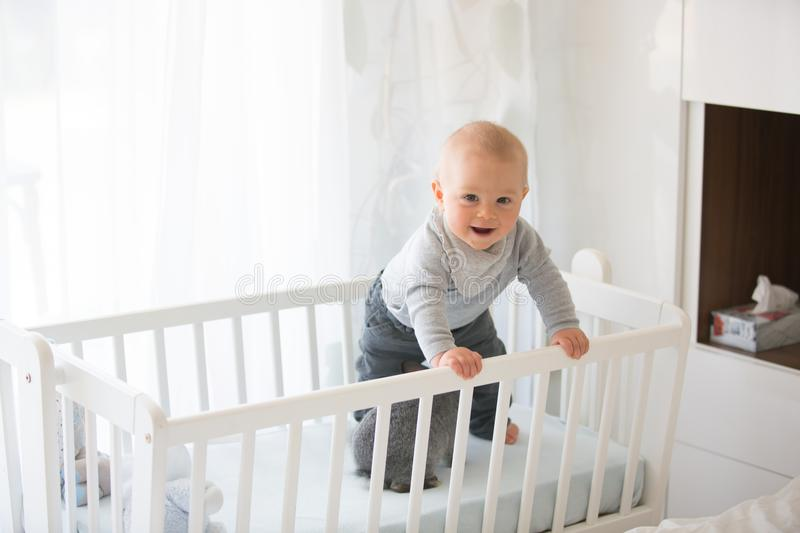 Smiling toddler boy, playing with little rabbit in crib. Smiling happily stock photography