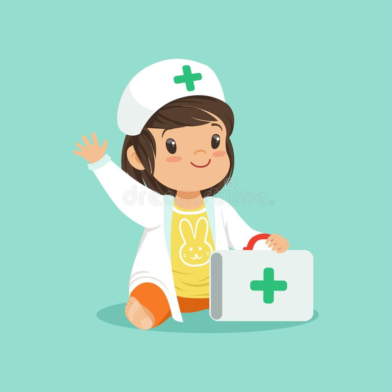 Smiling toddler girl holding medical suitcase and waving hand. Cartoon baby character wearing in doctor s coat and hat vector illustration