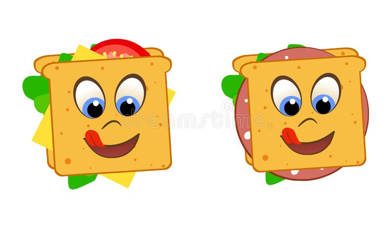 Smiling tongue and eyes sandwiches with tomato, lettuce, cheese and sausage stock illustration