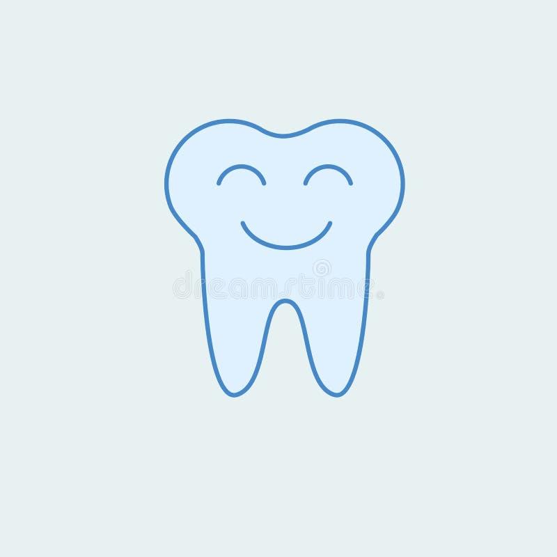 Smiling tooth 2 colored line icon. Simple colored element illustration. Outline symbol design from dental set. On blue background stock illustration