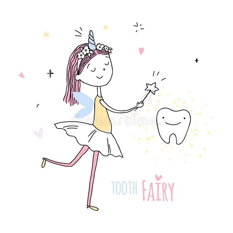 Smiling tooth fairy. Cute little happy fairy girl with tooth. Hand drawn vector cartoon doodle illustration vector illustration