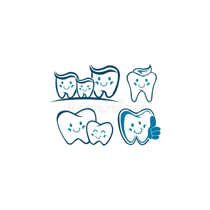 Smiling tooth Family Dental Character Mascot Logo vector illustration