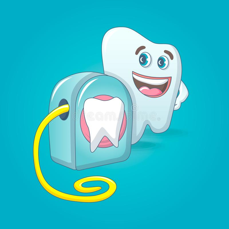 Smiling tooth with floss box concept background, cartoon style stock illustration