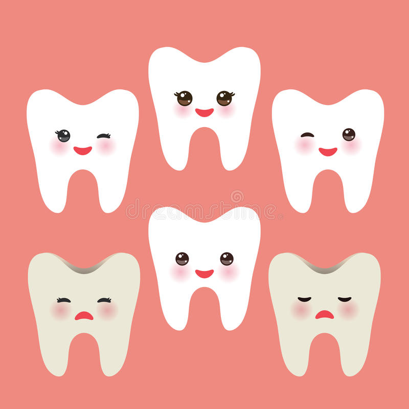 Smiling tooth with pink cheeks. dirty ill and joy healthy teeth. For children illustrations, medcine care, images etc. in pink. Background. Vector illustration vector illustration