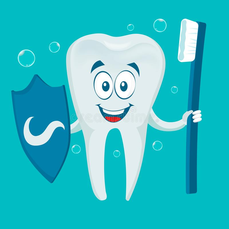 Smiling Tooth With Toothbrush And Shield stock illustration