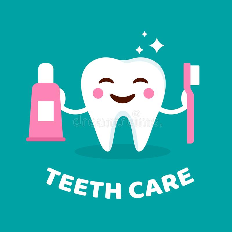 Smiling tooth with toothbrush and toothpaste. Teeth care concept. Cute tooth with happy emoji. Teeth character in flat vector illustration