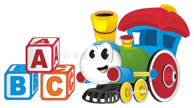 Happy toy train with cubs. Smiling toy train with three colored toy cubs vector illustration