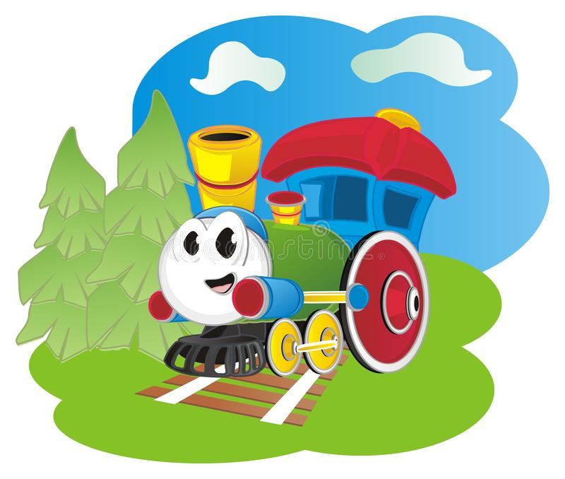 Funny toy train on wood stock illustration