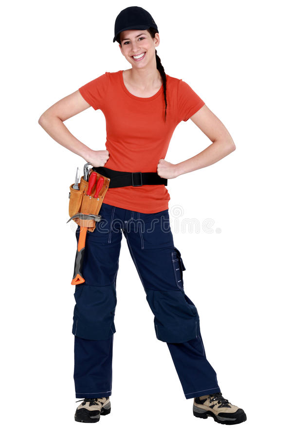 Download Smiling tradeswoman stock image. Image of happiness, shoes - 28296183