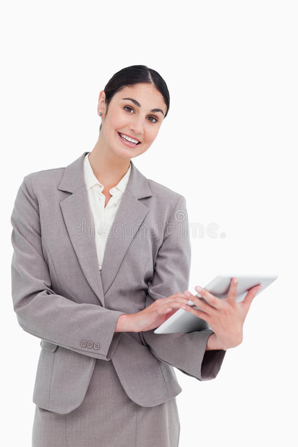 Smiling Tradeswoman With Her Tablet Computer Stock Images
