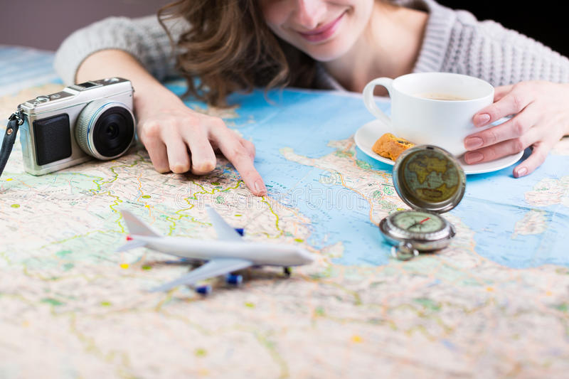 Smiling travel planning stock photography