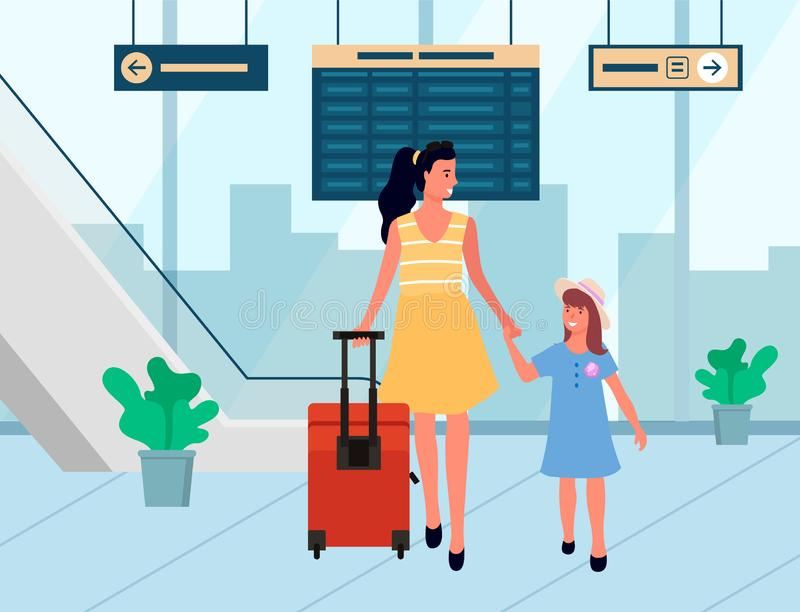 Smiling Travelers Arrive, Family in Airport Vector. Mother and daughter going with baggage, people arrive. Family tourists in departure lounge, female holding stock illustration