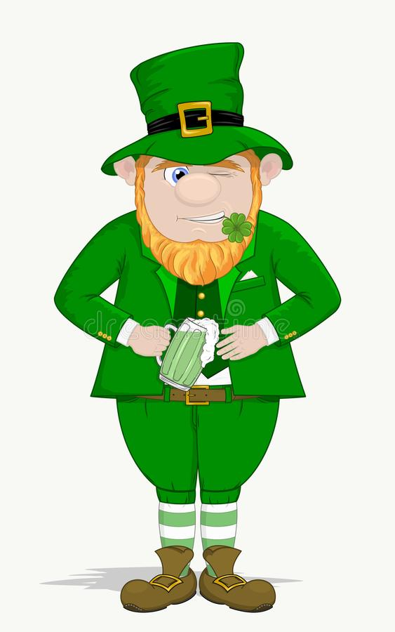 Smiling and twinkling leprechaun with beer glass vector illustration