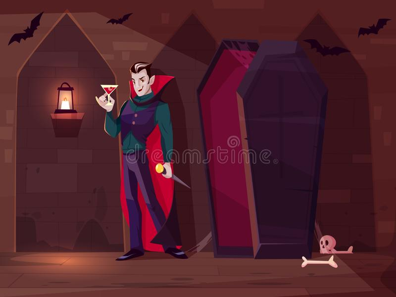 Vampire drinking blood cartoon vector concept royalty free illustration