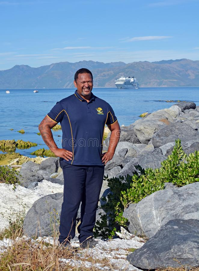 Smiling Whale Watch Kaikoura Staff Member. stock images