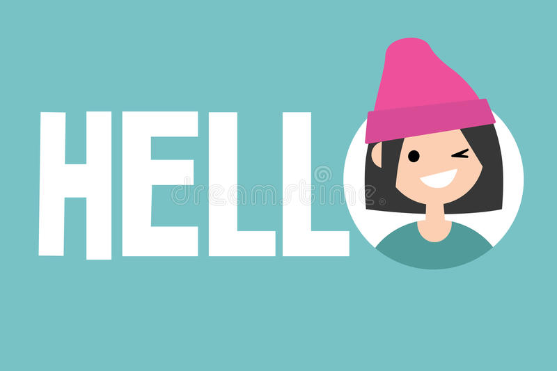 Smiling winking girl says Hello. Conceptual illustrated sign royalty free illustration