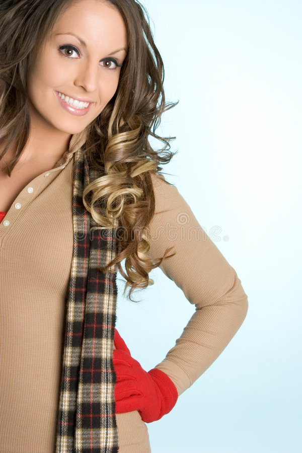 Smiling Winter Woman royalty free stock images