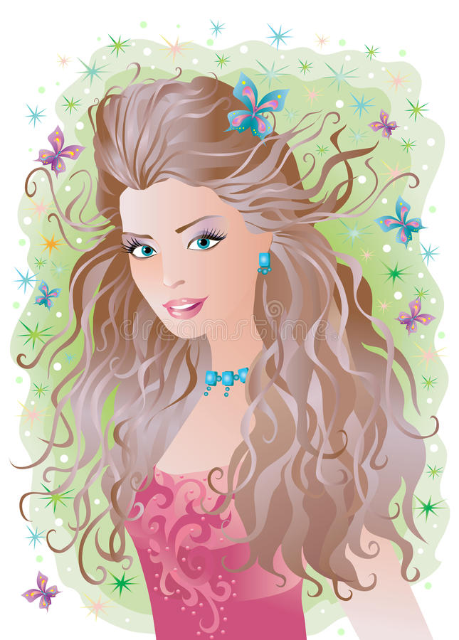 Smiling woman stock illustration