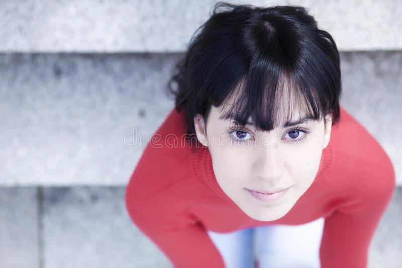 Smiling woman from above stock photo