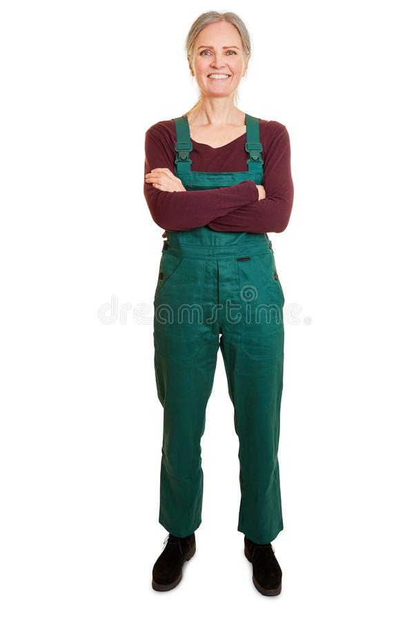 Woman as a gardener in work clothes royalty free stock images