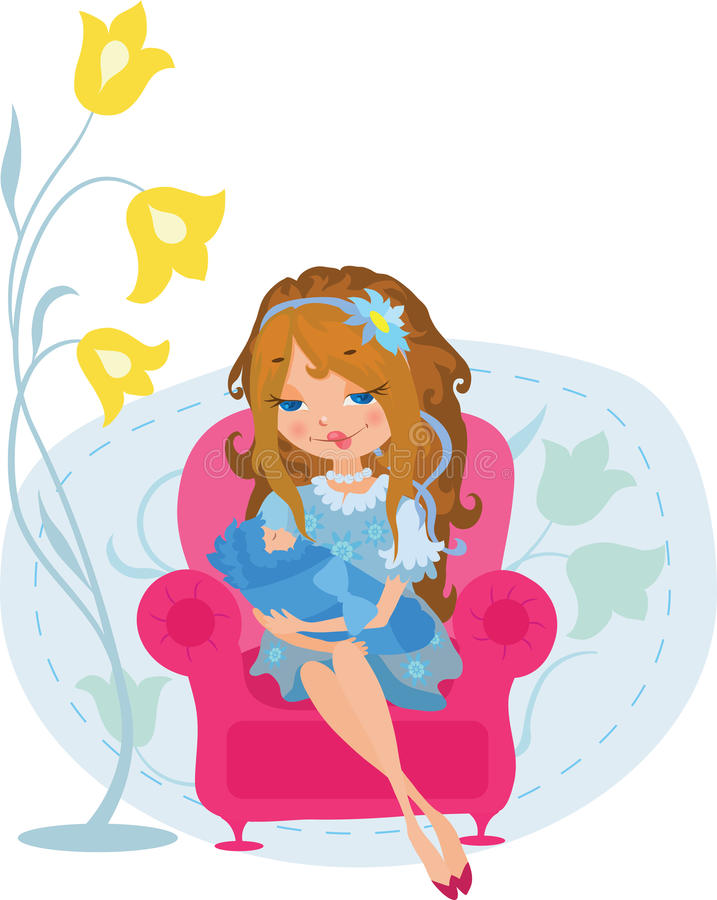 Smiling woman with baby. In sweet dream vector illustration