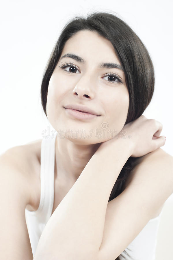 Smiling woman with black long hair