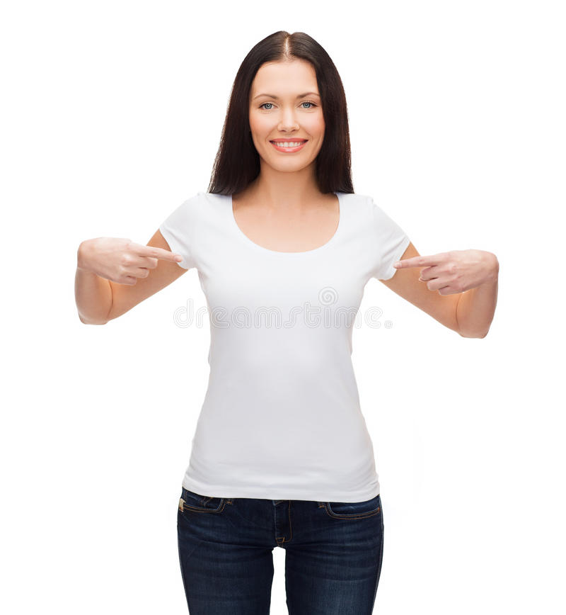 Smiling Woman In Blank White T-shirt Stock Photo - Image of cool ...