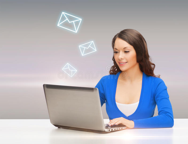 Download Smiling Woman In Blue Clothes With Laptop Computer Stock Photo - Image of businesswoman, asian: 40042468