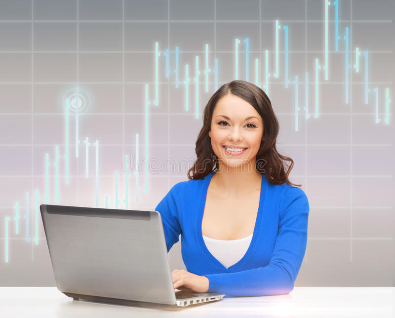 Download Smiling Woman In Blue Clothes With Laptop Computer Stock Photo - Image: 40042754