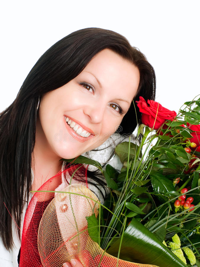 Download Smiling Woman With Bouquet Of Flowers Stock Photo - Image: 10874256