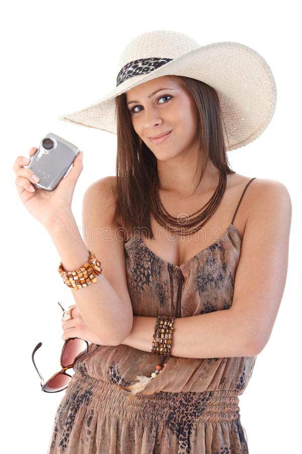 Download Smiling Woman With Camera At Summertime Stock Image - Image: 24456175