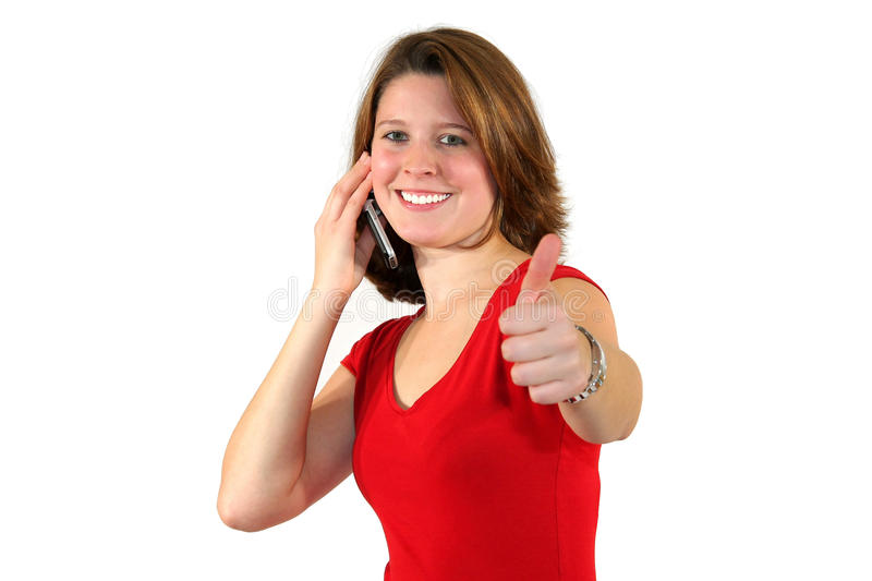 Download Smiling Woman With Cell Phone And Thumbs Up Stock Image - Image: 11865965