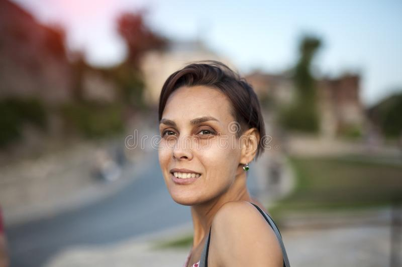 Smiling woman close up. stock photo