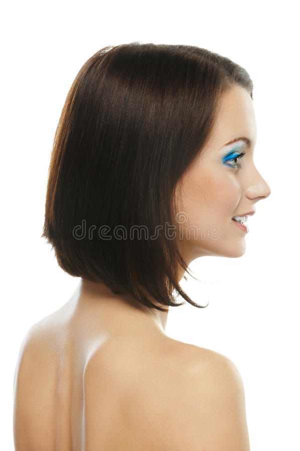 Smiling woman, close-up in profile