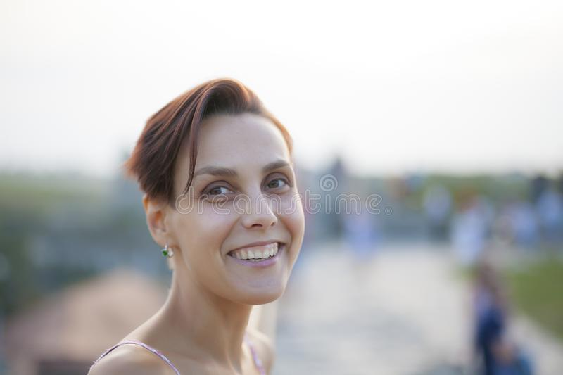 Smiling woman close up. stock images
