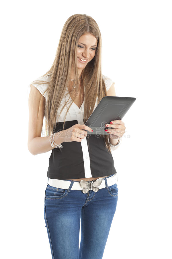 Smiling Woman Communicate With Tablet Computer