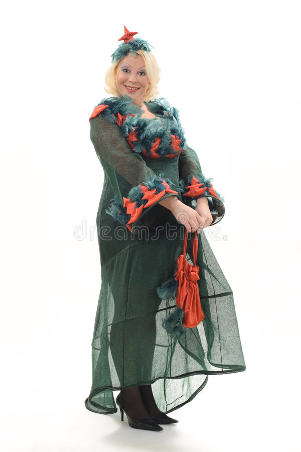 Download Smiling Woman In Costume Of Christmas Tree Stock Image - Image: 1533027