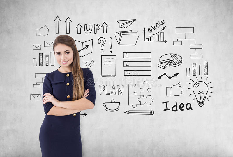 Download Smiling Woman With Crossed Arms And Business Idea Stock Image - Image: 83722283