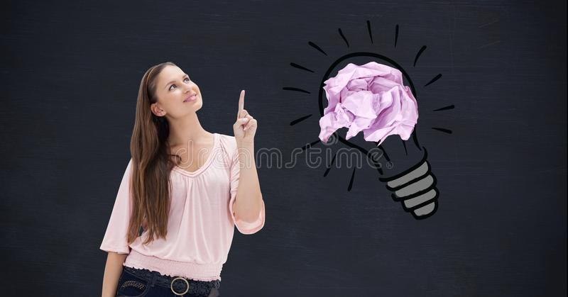 Smiling woman with crumbled paper on drawn light bulb in background vector illustration