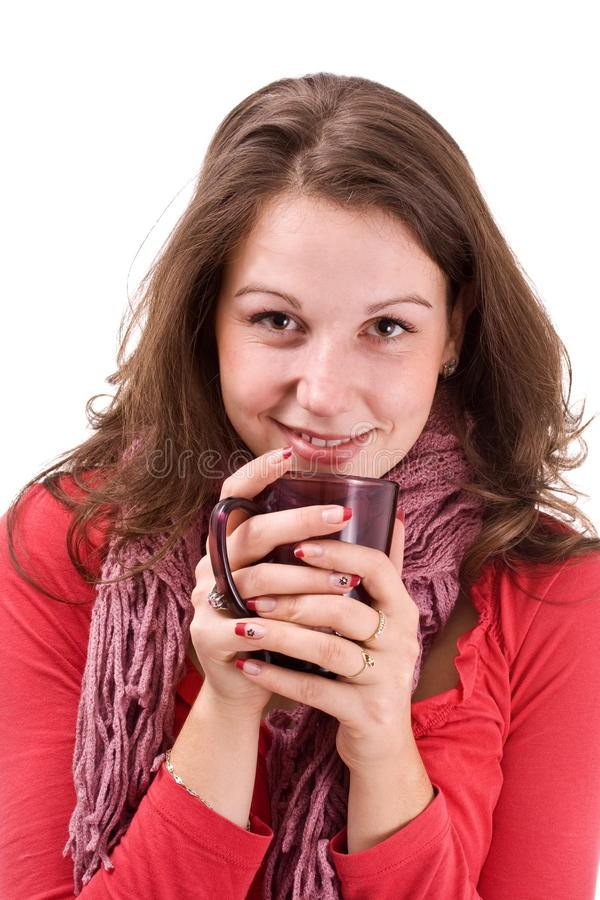 Smiling woman with cup stock image