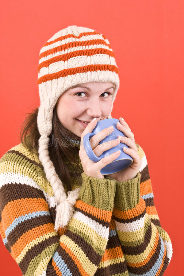 Smiling woman with cup stock images