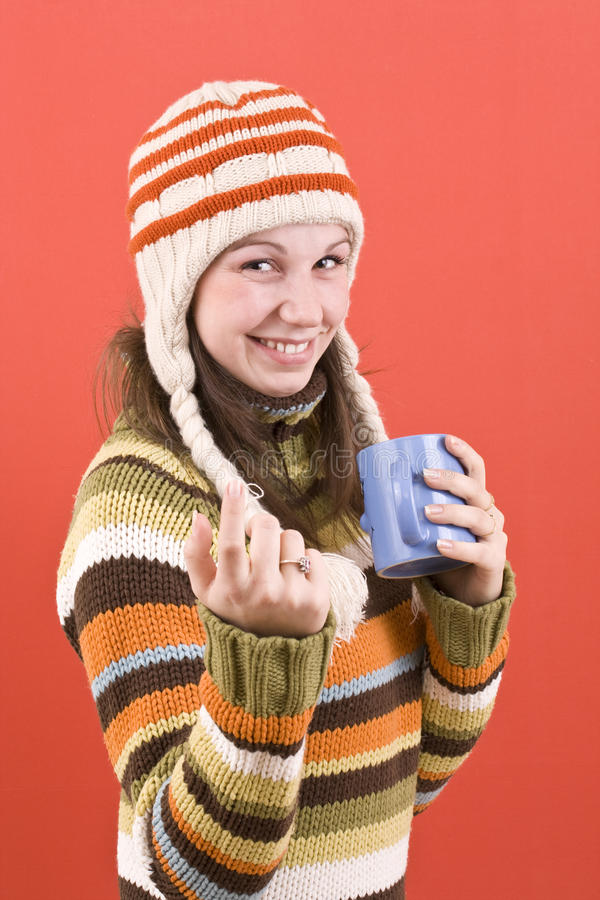 Smiling woman with cup royalty free stock images