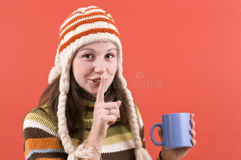 Smiling woman with cup stock photo